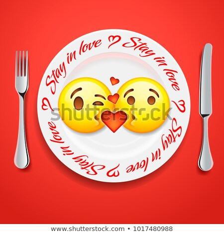 Two kissing emoji faces in love emoticon, concept for Valentines day Stock photo © ikopylov