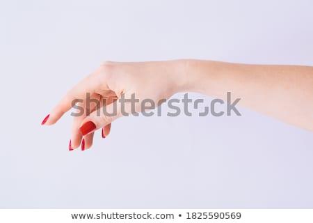 belo · manicure · mãos · unhas · vermelhas · estância · termal · vermelho - foto stock © flisakd