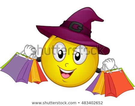 スマイリー マスコット 魔女 ショッピングバッグ ハロウィン 実例 ストックフォト © lenm
