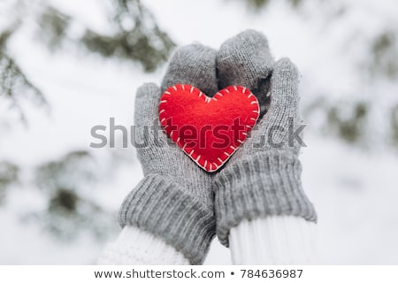 beautiful woman in red mittens with snow stock photo © dolgachov