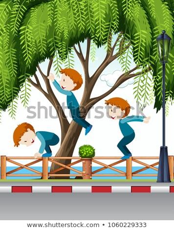 Jongen Maakt een reservekopie trottoir illustratie kind landschap Stockfoto © bluering