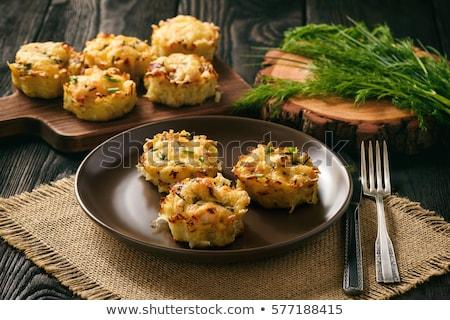 Gebakken zoete aardappel kaas eten plantaardige maaltijd Stockfoto © glorcza