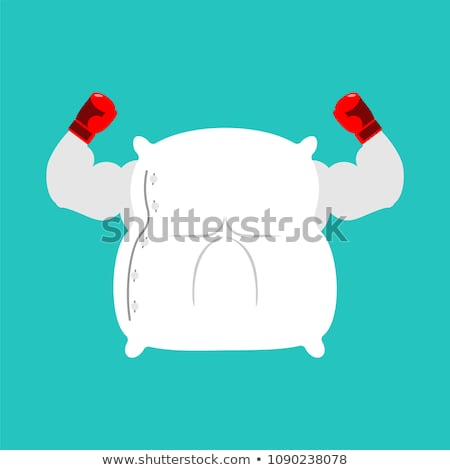 Strong Pillow fight. Big bed linen. Vector illustration Stock photo © MaryValery