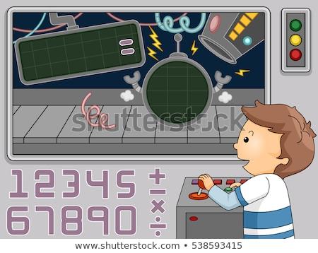 Kid Boy Mechanical Numbers Math Stock photo © lenm