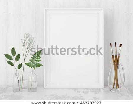 Fehér képkeret négyszögletes 3D renderelt kép illusztráció Stock fotó © djmilic
