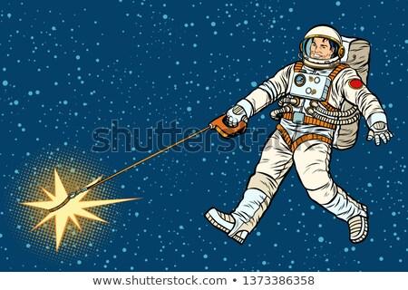 астронавт звездой подобно собака Поп-арт ретро Сток-фото © studiostoks