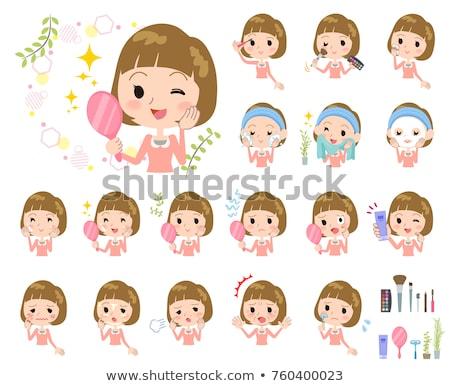 Straight bangs hair pink blouse women Stock photo © toyotoyo