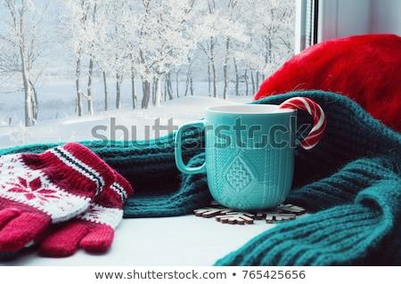 Noel sahne pencere eşiği yanan mum süslemeleri Stok fotoğraf © neirfy