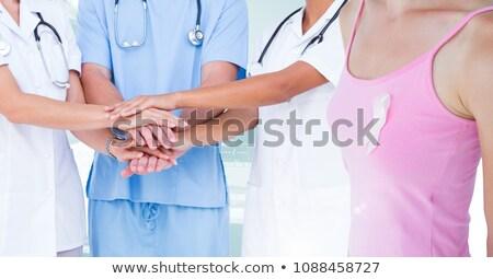 Em pé mulher branco imagens câncer de mama consciência Foto stock © wavebreak_media