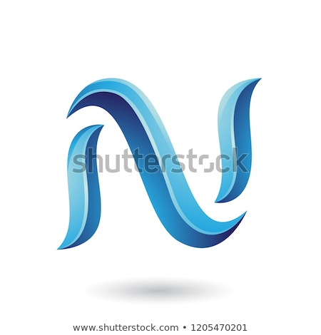 Blue Striped Snake Shaped Letter N Vector Illustration Stock photo © cidepix