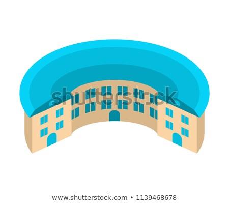 Ház körkörös építészet embléma egyedi épület Stock fotó © popaukropa