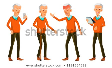 old man poses set vector asian korean chinese elderly people senior person aged funny pension stock photo © pikepicture