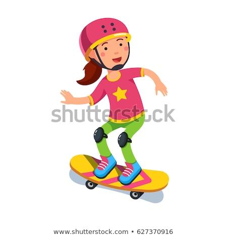 Skateboarder in Helmet Riding on Skateboard Vector Stock photo © robuart