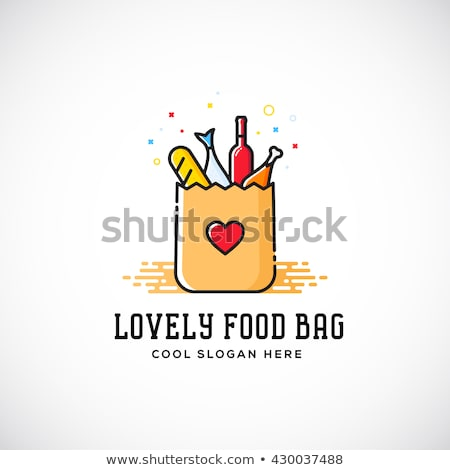 Food delivery - colorful line design style vector illustration Stock photo © Decorwithme