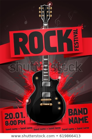 Stock photo: Rock music concert poster with electric guitar