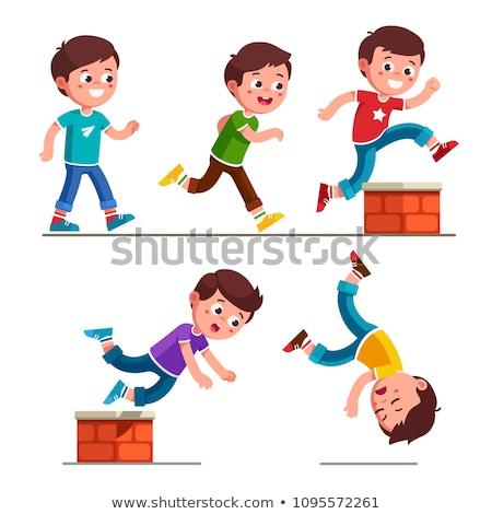 Cartoon garçon marche illustration souriant enfant Photo stock © cthoman