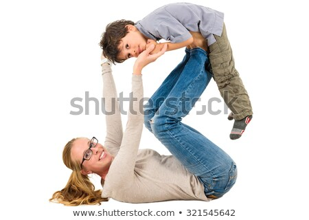 mom playing with son on isolated background stock photo © cienpies