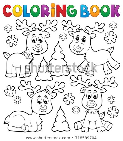 Coloring book winter animals topic 1 Stock photo © clairev