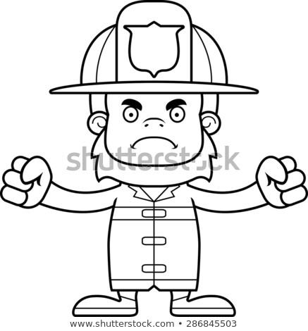 Cartoon Angry Firefighter Sasquatch Stock photo © cthoman