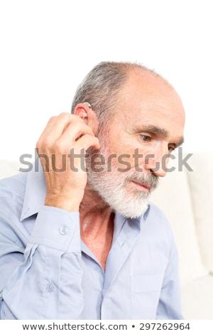 közelkép · kéz · fül · személy · hall · férfi - stock fotó © andreypopov