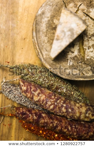 variety of french dried sausages and cheese from auvergne stock photo © boggy