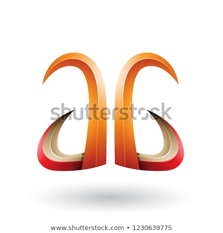 Orange and Red 3d Horn Like Letter A and G Vector Illustration Stock photo © cidepix