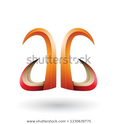 Oranje Rood 3D hoorn zoals Stockfoto © cidepix