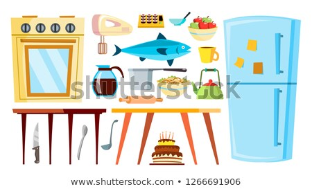 kitchen items vector refrigerator table food tableware objects isolated cartoon illustration foto d'archivio © pikepicture
