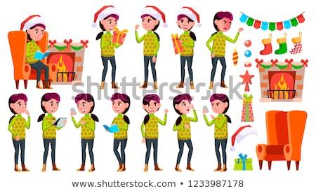 Navidad · ninos · establecer · vector · sombrero - foto stock © pikepicture