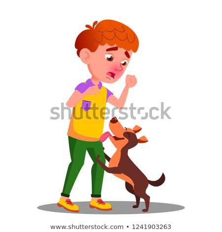 Allergic, Sneezing Boy With A Dog Vector. Isolated Cartoon Illustration Stock photo © pikepicture