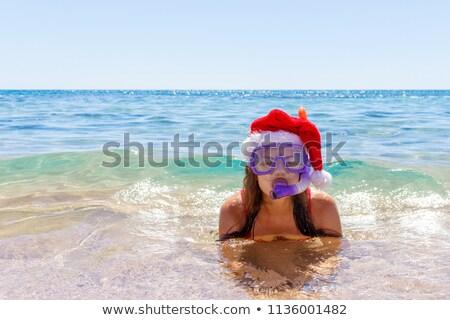 Vermelho starfish mergulho máscara praia oceano Foto stock © galitskaya