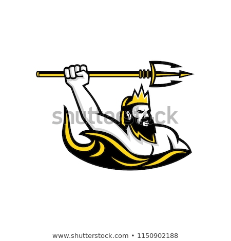 Stock photo: Triton Wielding Trident Mascot