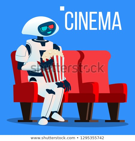 Robot Sits On Chair In Cinema In 3D Glasses And Keeps Popcorn In Hands Vector. Isolated Illustration Stock photo © pikepicture