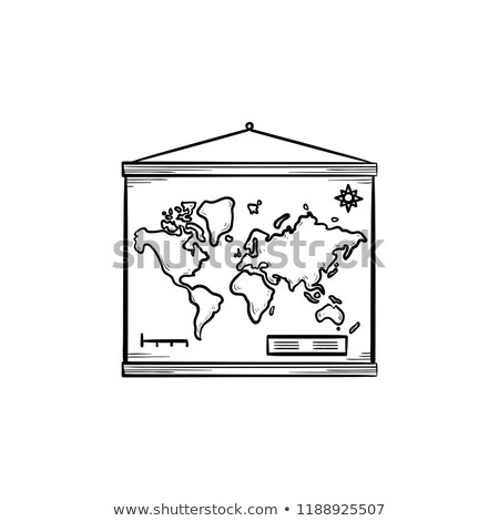 World map hanging on the wall hand drawn outline doodle icon. Stock photo © RAStudio
