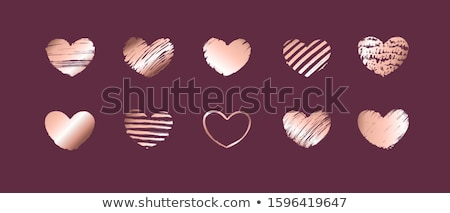 Stock fotó: Hand Drawn Rose Gold Gradient Hearts Vector Design Elements For Valentines Day