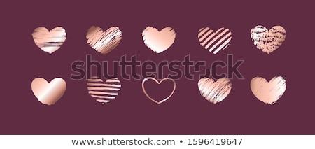 Stock fotó: Kézzel · rajzolt · rózsa · arany · gradiens · szívek · vektor
