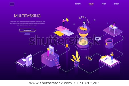 Meditation at work - modern colorful isometric vector web banner Stock photo © Decorwithme