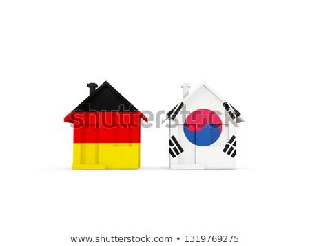 Dois casas bandeiras Alemanha Coréia do Sul isolado Foto stock © MikhailMishchenko