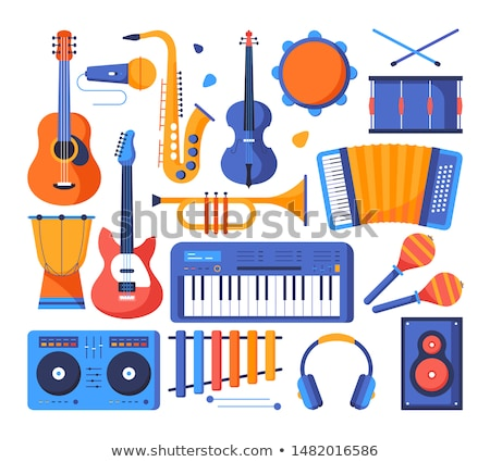 musical instruments flat concept icons stock photo © netkov1