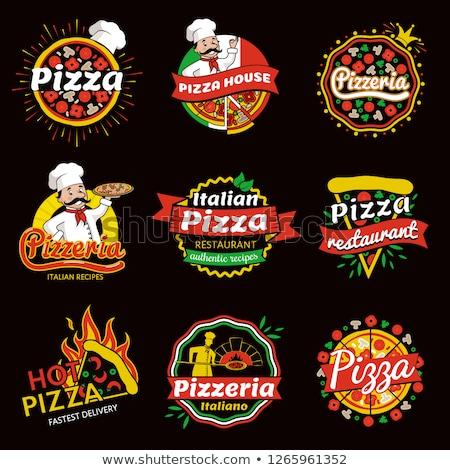 Pizzeria logo pizza Italiaans schotel plakje Stockfoto © robuart