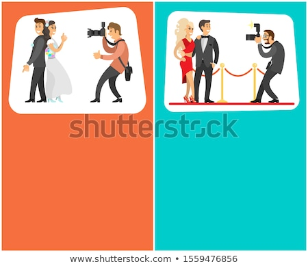 wedding photographer paparazzi posters with text stock photo © robuart