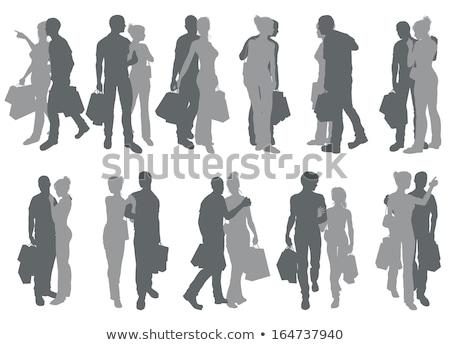 winkelen · vrouw · winkel · silhouet · zwart · wit · vrienden - stockfoto © krisdog