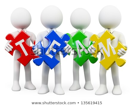 3d people solved puzzle piece word teamwork Stock photo © ribah