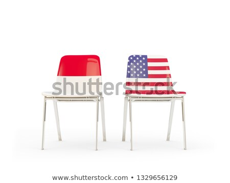 Iki sandalye bayraklar Endonezya Amerika Birleşik Devletleri yalıtılmış Stok fotoğraf © MikhailMishchenko