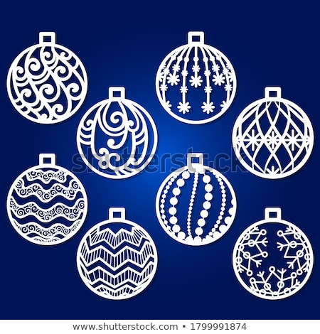 Merry Christmas Paper Cut Silhouettes Cards Set Stock photo © robuart
