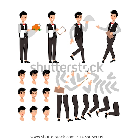 waiter woman wearing the uniform holding a dish of chicken cartoon character set of fun flat cartoo stock photo © bonnie_cocos