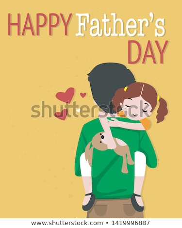 father and daughter   cartoon people characters illustration stock photo © decorwithme