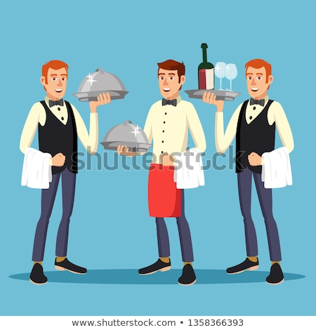Butler Worker Vector. Man Butler Person In Uniform With Dish. Dinner On Restaurant. Illustration Stock photo © pikepicture