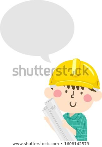 rajz · fiú · szövegbuborék · férfi · beszél · retro - stock fotó © lenm