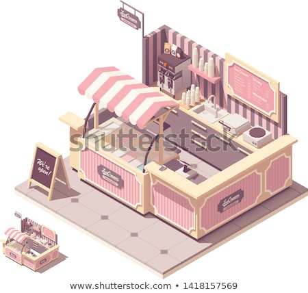 vector isometric food court coffee kiosk stock photo © tele52